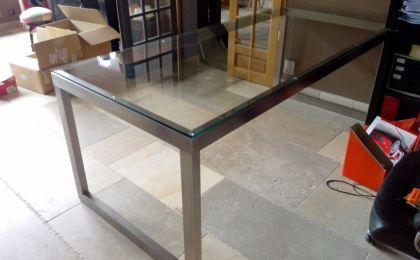 Bureau inox verre paire de bureau design vers inox verre fumé de
